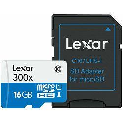 Lexar microSDHC 16GB 300x 45MB/s Class 10 High Speed memorijska kartica sa adapterom LSDMI16GBBEU300