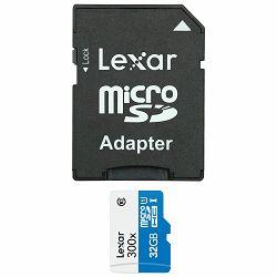 Lexar microSDHC 32GB 300x 45MB/s Class 10 High Speed memorijska kartica sa adapterom LSDMI32GBBEU300