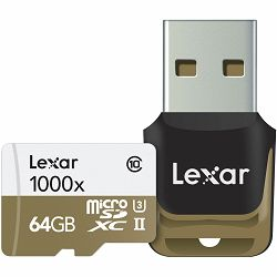 Lexar microSDXC 64GB 1000x 150mb/s UHS-II with USB 3.0 Reader microSD memorijska kartica + USB čitač LSDMI64GCBEU1000R