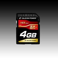 Memory ( flash cards ) SILICON POWER NAND Flash Secure Digital High Capacity 4096MB x 1 150x for PDA, MP3 digital devices with SDHC mark, 1pcs