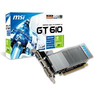 MSI Video Card GeForce GT 610 DDR3 1GB/64bit, 810MHz/1334GHz, PCI-E 2.0 x16, HDCP, HDMI, DVI, VGA Heatsink, Low-profile, Retail