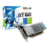 MSI Video Card GeForce GT 610 DDR3 1GB/64bit, 810MHz/1334GHz, PCI-E 2.0 x16, HDCP, HDMI, DVI, VGA Heatsink, Low-profile, Retail