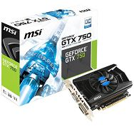 MSI Video Card GeForce GTX 750 GDDR5 1GB/128bit, 1059MHz/5000MHz, PCI-E 3.0 x16, HDMI,DVI,VGA, Retail