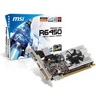 MSI Video Card Radeon HD 6450 DDR3 1024MB/64bit, 570MHz/1000MHz, PCI-E 2.1 x16, HDMI, DVI, VGA Heatsink, Retail