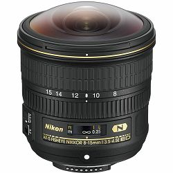 Nikon AF-S 8-15mm f/3.5-4.5E ED FX Fisheye ultraširokokutni riblje-oko objektiv Nikkor auto focus fish-eye zoom lens 8-15 f3.5-4.5E f3.5-4.5 E f/3.5-4.5 (JAA831DA)