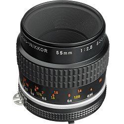 Nikon AI 55mm f/2.8 Micro FX 1:1 Macro objektiv fiksne žarišne duljine s ručnim fokusiranjem Nikkor 55 F2.8 2.8 manual focus prime lens (JAA616AB)