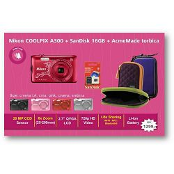 Nikon Coolpix A300 digitalni fotoaparat + torbica + 16GB SD kartica Crveni Red