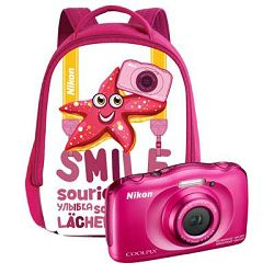 Nikon Coolpix W100 Pink Backpack KIT VQA012K001 All Weather Waterproof Digital Camera rozi vodonepropusni vodootporni podvodni digitalni kompaktni fotoaparat