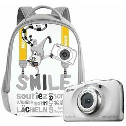 Nikon Coolpix W100 White Backpack KIT VQA010K001 All Weather Waterproof Digital Camera bijeli vodonepropusni vodootporni podvodni digitalni kompaktni fotoaparat