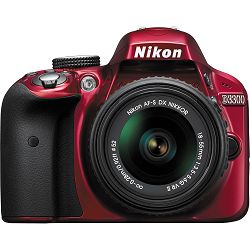 Nikon D3300 + AF-P 18-55 VR RED KIT VBA391K002 crveni DSLR digitalni fotoaparat Camera with 18-55VR f/3.5-5.6 lens APS-C DX objektiv