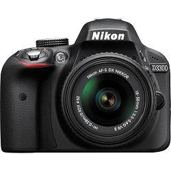 Nikon D3300 KIT AF-P 18-55VR Black crni DSLR digitalni fotoaparat + AF-P DX NIKKOR 18-55mm F/3.5-5.6G objektiv 18-55 VR VBA390K008