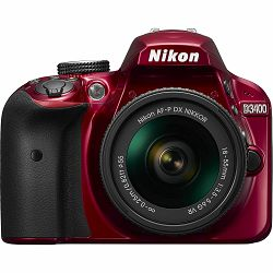 Nikon D3400 + AF-P 18-55VR Red KIT DSLR digitalni fotoaparat i objektiv AF-P DX 18-55mm f/3.5-5.6G VR (VBA491K001)