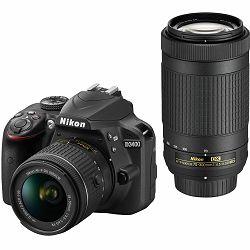 Nikon D3400 + AF-P 18-55 (non VR) + AF-P 70-300VR KIT DSLR Digitalni fotoaparat 18-55mm f/3.5-5.6 70-300mm Lens 70-300 f/4.5-6.3 VR (VBA490K006)