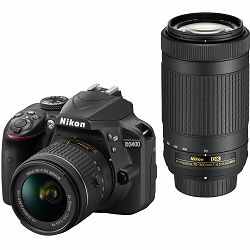 Nikon D3400 + AF-P 18-55 VR + 70-300 VR KIT DSLR Digitalni fotoaparat 18-55mm f/3.5-5.6 70-300mm f/4.5-6.3 VR APS-C DX (VBA490K005)