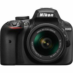 Nikon D3400 + AF-P 18-55VR Black KIT DSLR digitalni fotoaparat i objektiv AF-P DX 18-55mm f/3.5-5.6G VR (VBA490K001)