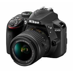 Nikon D3400 + AF-P 18-55VR Black KIT DSLR digitalni fotoaparat i objektiv AF-P DX 18-55mm f/3.5-5.6G VR (VBA490K001) + poklon CF-EU11 torba i SanDisk Ultra 16GB SD kartica - ZIMSKA PROMOCIJA