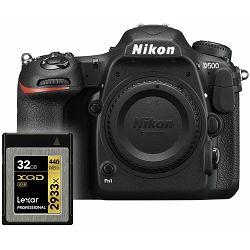 Nikon D500 Body + Lexar XQD 32GB 2933x 440mb/s memorijska kartica 4K UHD 20.9MP DX DSLR Camera digitalni fotoaparat (VBA480AE)
