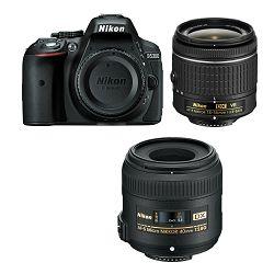 Nikon D5300 + AF-P 18-55 VR + 40mm f/2.8G ED KIT Black DSLR fotoaparat s dva objektiva AF-P 18-55VR i 40 f/2.8 F2.8 2.8 G macro