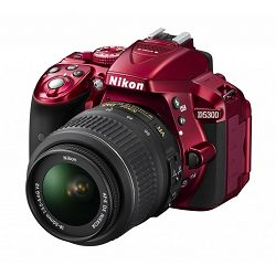 Nikon D5300 + AF-P 18-55VR Red KIT VBA371K004 DSLR digitalni fotoaparat Camera with 18-55VR f/3.5-5.6 lens APS-C DX objektiv