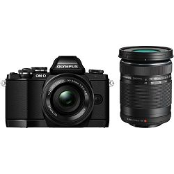 Olympus E-M10 II + 14-42 + 40-150 Black crni E-M10II Pancake Double Zoom Kit blk/blk/blk 14-42mm 40-150mm EZ-M1442EZ black + EZ-M4015 R black incl. Charger & Battery V207053BE000