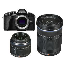 Olympus E-M10 III + 14-42mm + 40-150mm Double Zoom KIT Black crni digitalni fotoaparat s objektivima EZ-M1442 II R i EZ-M4015 R Mirrorless MFT Micro Four Thirds Digital Camera (V207071BE010)