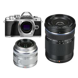 Olympus E-M10 III + 14-42mm + 40-150mm Double Zoom KIT Silver srebreni digitalni fotoaparat s objektivima EZ-M1442 II R i EZ-M4015 R Mirrorless MFT Micro Four Thirds Digital Camera (V207071SE010)