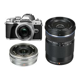Olympus E-M10 III + 14-42mm + 40-150mm Double Zoom Pancake KIT Silver srebreni digitalni fotoaparat s objektivima 14-42 f/3.5-5.6 EZ-M4015 R Mirrorless Micro Four Thirds Digital Camera (V207074SE000)