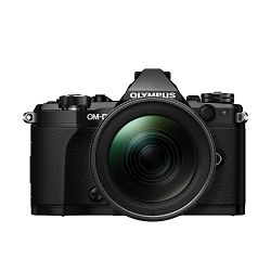 Olympus E-M5 II + 12-40 PRO Black crni E-M5II 1240 Kit blk/blk Mark EZ-M1240PRO black incl. Charger, Battery + Lens Hood Micro Four Thirds OM-D Camera digitalni fotoaparat V207041BE000