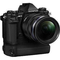 Olympus E-M5 II + 12-40 PRO Black crni E-M5II 1240 Kit blk/blk 12-40mm + HLD-8 Power Battery Holder + BLN-1 Battery Micro Four Thirds MFT - OM-D Camera digitalni fotoaparat V207041BE010