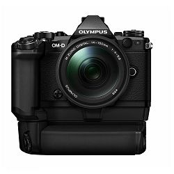 Olympus E-M5 II + 14-150 Black crni E-M5II 1415II Kit blk/blk 14-150mm + HLD-8 Power Battery Holder + BLN-1 Battery Micro Four Thirds MFT - OM-D Camera digitalni fotoaparat V207043BE010