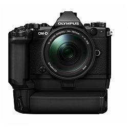 Olympus E-M5 II + 14-150 Black crni E-M5II 1415II Kit blk/blk 14-150mm + HLD-8 Power Battery Holder + BLN-1 Battery Micro Four Thirds MFT - OM-D Camera digitalni fotoaparat V207043BE010