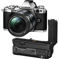 Olympus E-M5 II + 14-150 Silver srebreni E-M5II 1415II Kit slv/blk 14-150mm + HLD-8 Power Battery Holder + BLN-1 Battery Micro Four Thirds MFT - OM-D Camera digitalni fotoaparat V207043SE010