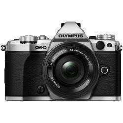 Olympus E-M5 II 14-42 Pancake Zoom Kit slv/blk E-M5 Mark II Silver + EZ-M1442EZ srebreni incl. Charger & Battery Mirrorless Micro Four Thirds MFT - OM-D Camera digitalni fotoaparat V207044SE000