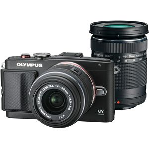 Olympus E-PL6 Body black + EZ-M1442 II R black & EZ-M4015 R black incl. Charger + Battery 14-42mm 40-150 Micro Four Thirds MFT - PEN Camera digitalni fotoaparat V205052BE000