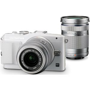 Olympus E-PL6 Body white + EZ-M1442 II R silver & EZ-M4015 R silver incl. Charger + Battery 14-42mm 40-150 Micro Four Thirds MFT - PEN Camera digitalni fotoaparat V205052WE000