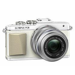 Olympus E-PL7 + 14-42mm 1:3.5-5.6 EZ + 45mm 1.8 Bijeli E-PL7 Flatlay/Portrait Kit White/silver Micro Four Thirds MFT - PEN Camera digitalni fotoaparat V205073WE010