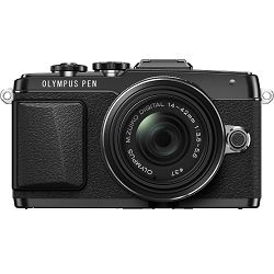 Olympus E-PL7 + 14-42mm black EZ-M1442 II R black Kit - incl. Charger + Battery 14-42 Micro Four Thirds MFT - PEN Camera digitalni fotoaparat V205071BE000