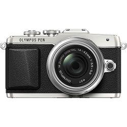 Olympus E-PL7 + 14-42mm Pancake Zoom Kit slv/slv E-PL7 silver + EZ-M1442EZ silver - incl. Charger & Battery 14-42 Micro Four Thirds MFT - PEN Camera digitalni fotoaparat V205073SE001