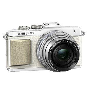 Olympus E-PL7 + 14-42mm Pancake Zoom Kit wht/slv E-PL7 white + EZ-M1442EZ silver - incl. Charger & Battery 14-42 Micro Four Thirds MFT - PEN Camera digitalni fotoaparat V205073WE001