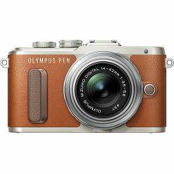 Olympus E-PL8 + 14-42mm Brown Pancake Zoom Kit brn/slv Smeđi digitalni fotoaparat s objektivom EZ-M1442EZ incl. Charger & Battery 14-42 Micro Four Thirds MFT PEN Camera (V205082NE000)