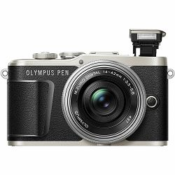 Olympus E-PL9 + 14-42mm Black/Silver Pancake Zoom Kit blk/slv Crni digitalni fotoaparat s objektivom EZ-M1442EZ incl. Charger & Battery 14-42 Micro Four Thirds MFT PEN Camera (V205092BE000)