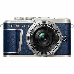 Olympus E-PL9 + 14-42mm Blue/Silver Pancake Zoom Kit blu/slv Plavi digitalni fotoaparat s objektivom EZ-M1442EZ incl. Charger & Battery 14-42 Micro Four Thirds MFT PEN Camera (V205092UE000)