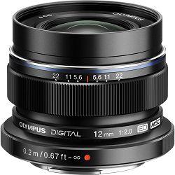 Olympus M.Zuiko Digital ED 12mm f/2 Black širokokutni objektiv za MFT Micro Four Thirds EW-M1220 Prime lens 12mm 1:2.0 (V311020BE001)