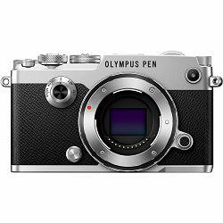 Olympus PEN-F + 14-42mm EZ ED Pancake Zoom Silver KIT Mirrorless Micro Four Thirds MFT PEN srebreni digitalni fotoaparat + objektiv EZ-M1442EZ incl. Charger + Battery (V204061SE000)