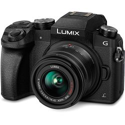 Panasonic Lumix G7 + 14-42 objektiv DMC-G7 DMC-G7KEG-K Mirrorless Micro Four Thirds Digital Camera with 14-42mm Lens Black