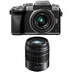 Panasonic Lumix G7 + 14-42mm f/3.5-5.6 + 45-150mm f/4-5.6 Asph Mega O.I.S. Silver 4K Mirrorless bezrcalni digitalni fotoaparat DMC-G7WEG DMC-G7 s objektivom G Vario 14-42 Micro Four Thirds DMC-G7WEG-S