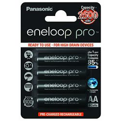 Panasonic Sanyo Eneloop PRO 4xAA 2500mAh ready to use B4 mignon LR6 BK-3HCDE4BE punjive baterije