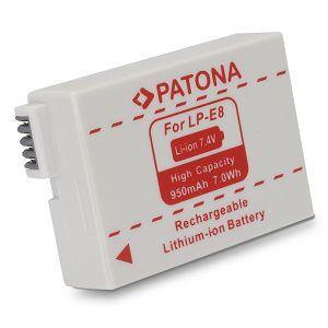 Patona LP-E8 950mAh 7.4V 7Wh baterija za Canon EOS 700D, 650D, 600D, 550D LPE8 Rechargeable Lithium-Ion Battery Pack