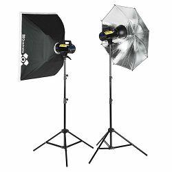 Quadralite komplet studijska rasvjeta 2x Move 300 X bljeskalice + 2x Softbox Octa 120cm + 2x stalak 260cm