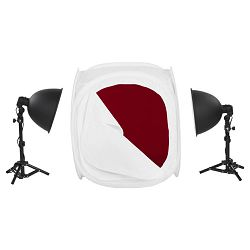 Quadralite LED LH-30 komplet foto šator 60x60cm + 2x E27 25W žarulje + 2x stalak 24-35cm + 4x pozadine